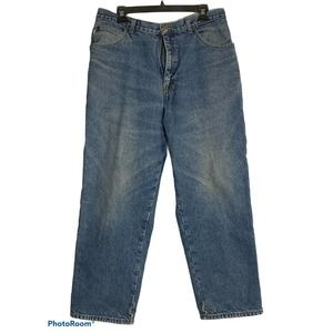 LL Bean Mens 38x30 Blue Jeans Flannel Lined Double L Cotton Denim Relaxed Fit